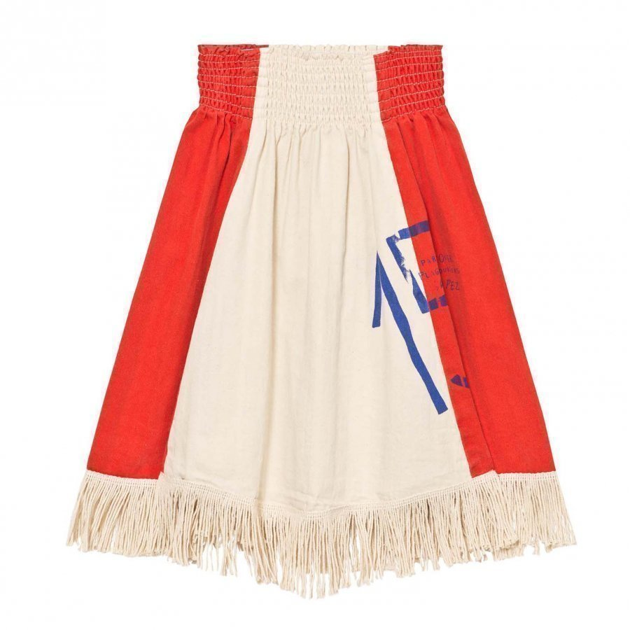 The Animals Observatory Pelican Skirt Raw White/Plain Red Maxihame
