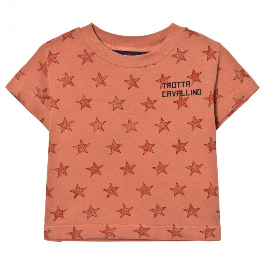 The Animals Observatory Rooster T-Shirt Deep Orange Stars T-Paita