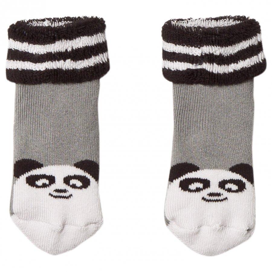 The Bonnie Mob Baby Bootie Panda Socks Grey Sukat