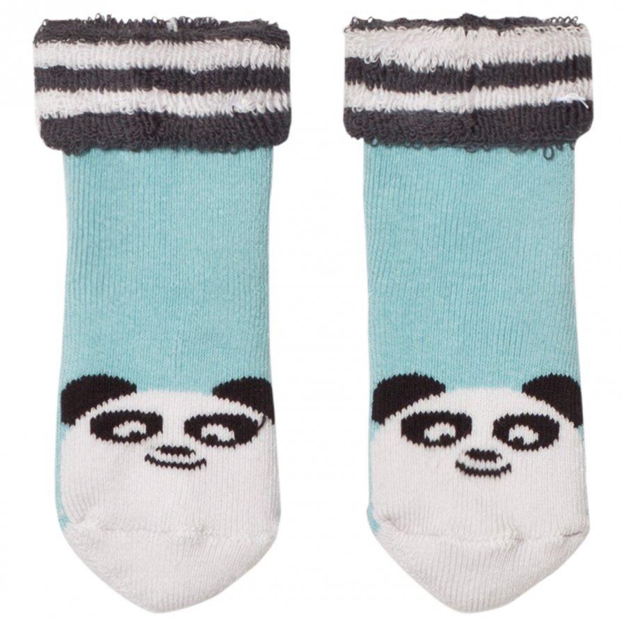 The Bonnie Mob Baby Bootie Panda Socks Pale Blue Sukat
