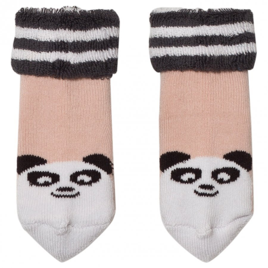The Bonnie Mob Baby Bootie Panda Socks Pale Pink Sukat