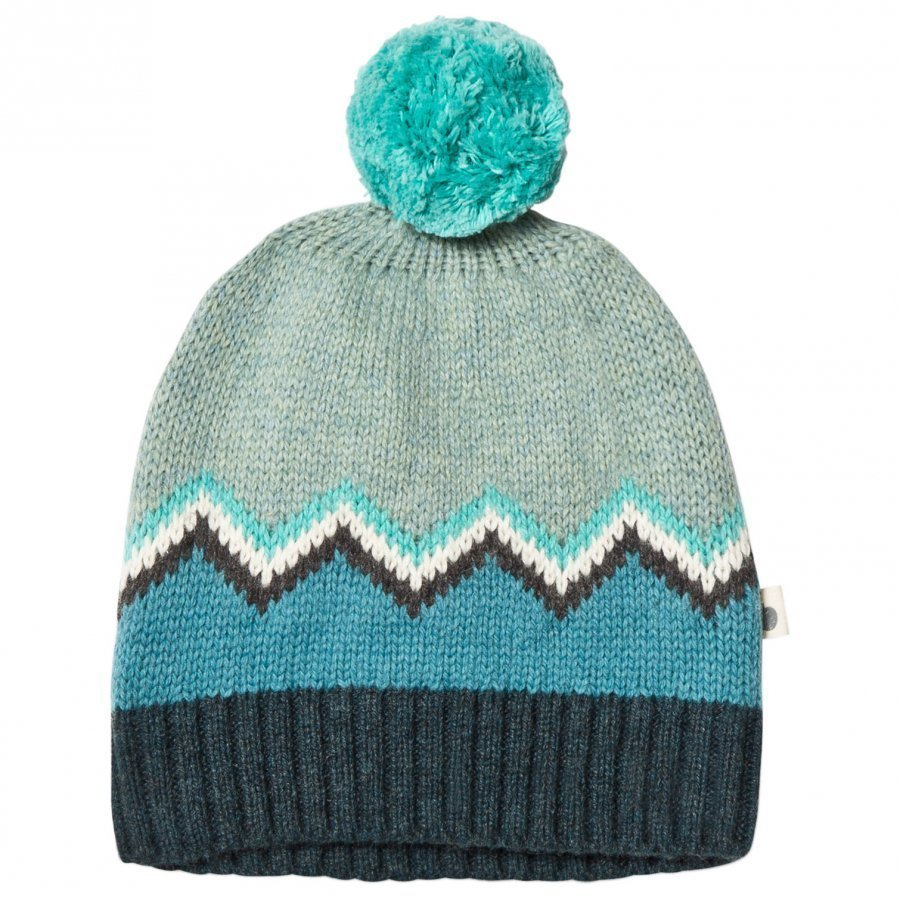 The Bonnie Mob Chunky Knitted Pom Pom Hat Blue Pipo