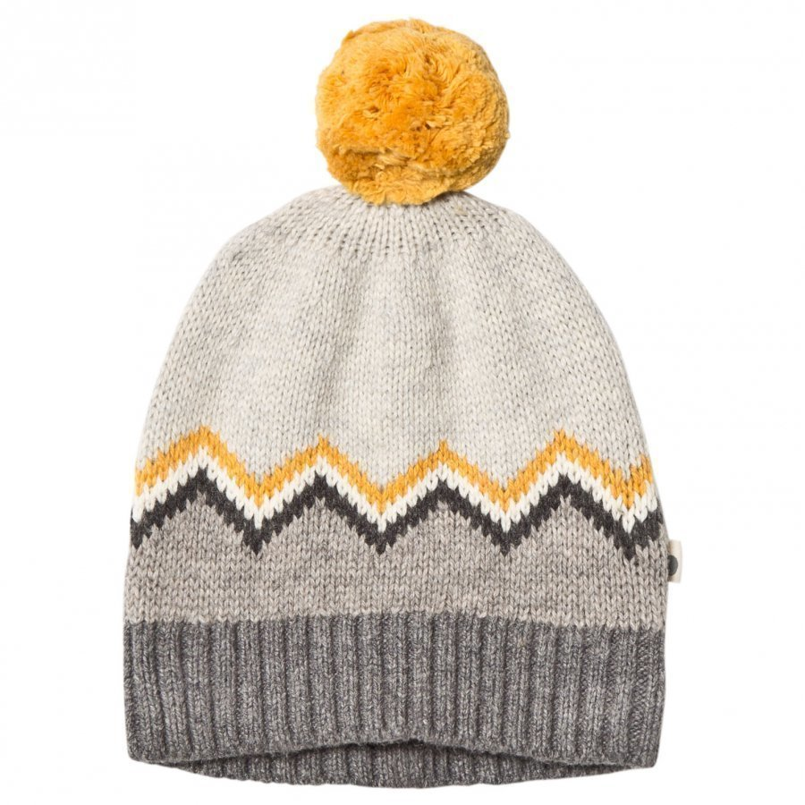 The Bonnie Mob Chunky Knitted Pom Pom Hat Grey Pipo