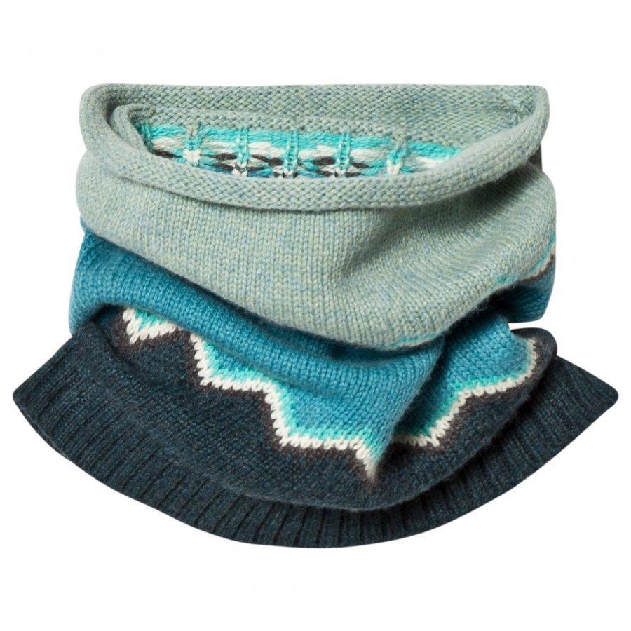 The Bonnie Mob Chunky Knitted Zig Zag Snood Blue Kietaisuhuivi
