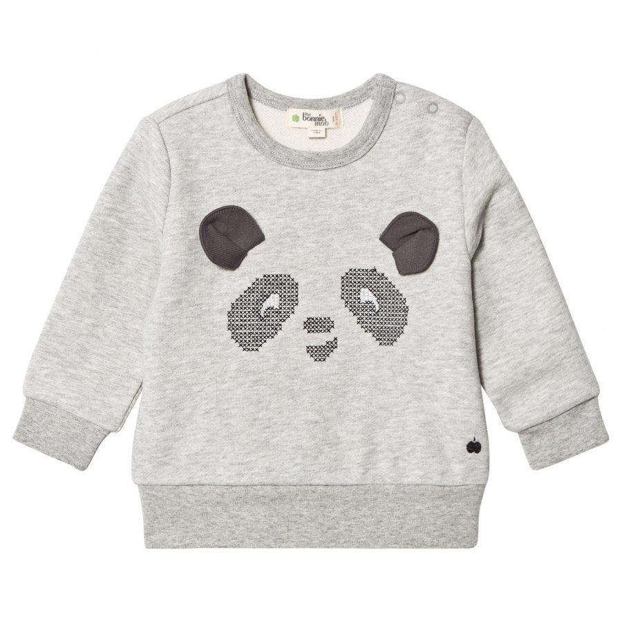 The Bonnie Mob Cross Stitch Panda Sweatshirt Grey Oloasun Paita
