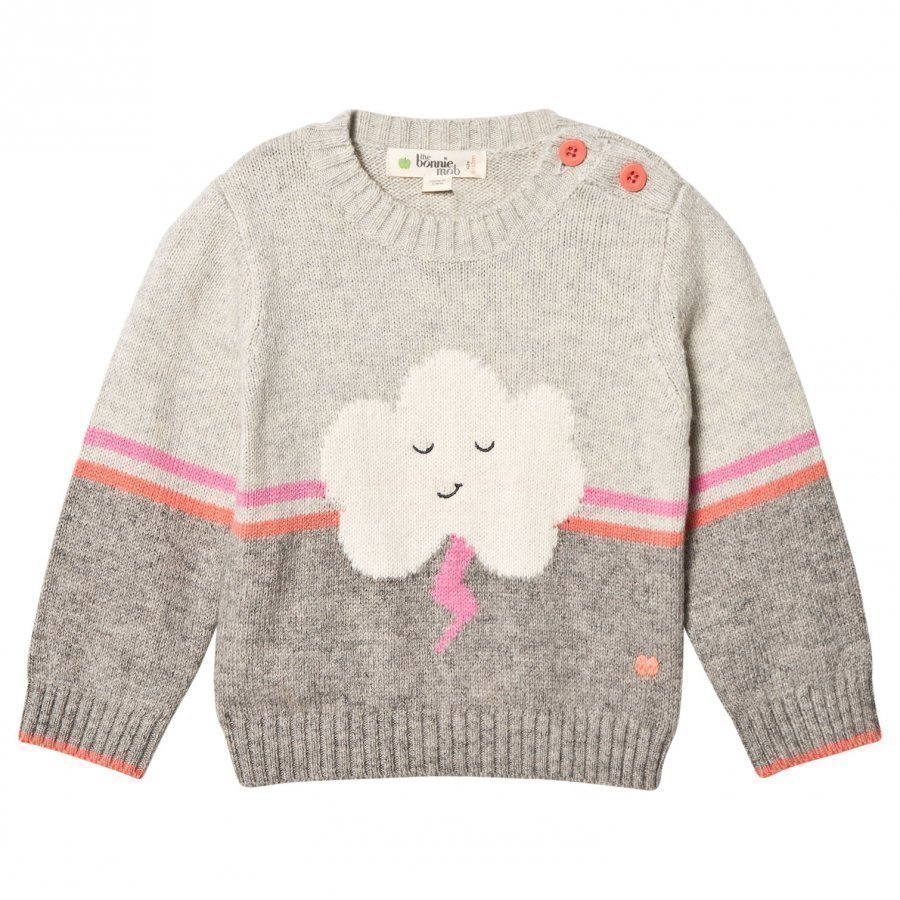 The Bonnie Mob Flash Cloud Intarsia Sweater Pink/Grey Paita