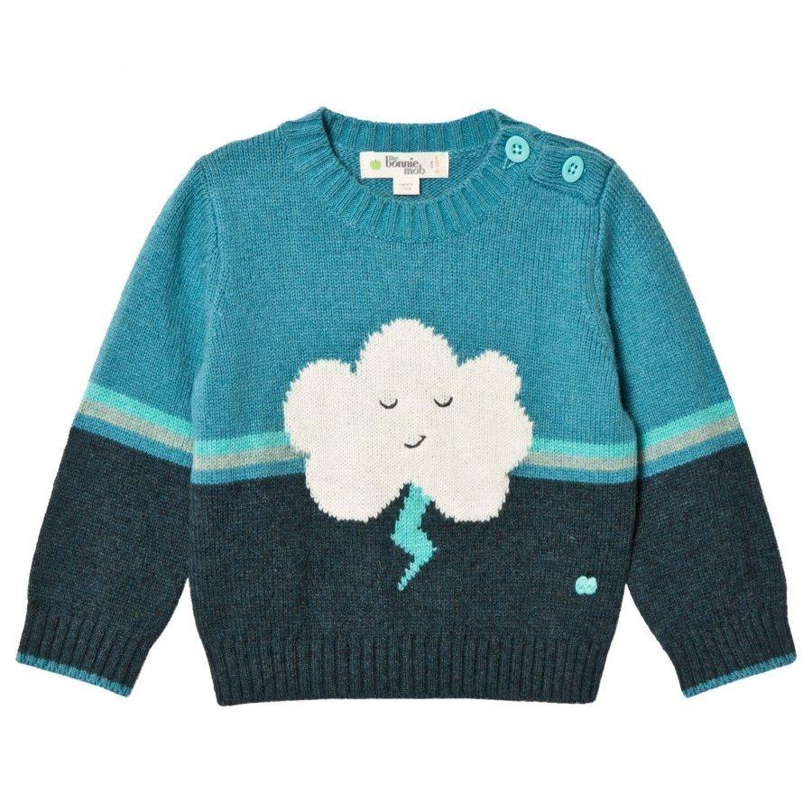 The Bonnie Mob Flash Cloud Intarsia Sweater Teal Paita