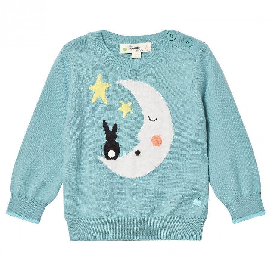 The Bonnie Mob Moon And Bunny Intarsia Sweater Pale Teal Oloasun Paita