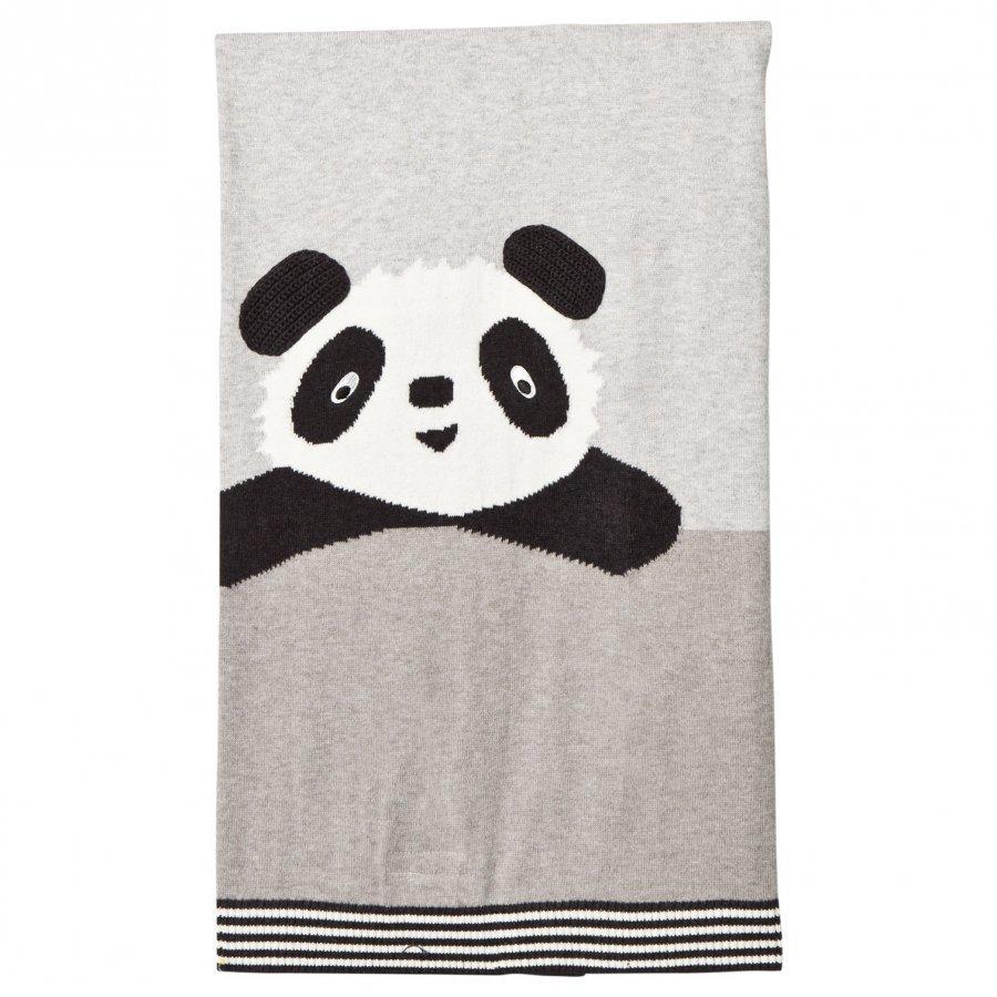 The Bonnie Mob Panda Intarsia Baby Blanket Grey Huopa