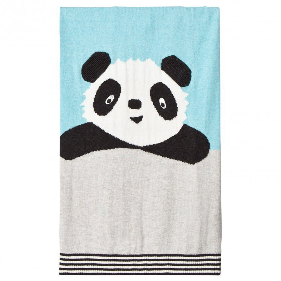 The Bonnie Mob Panda Intarsia Baby Blanket Pale Blue Huopa