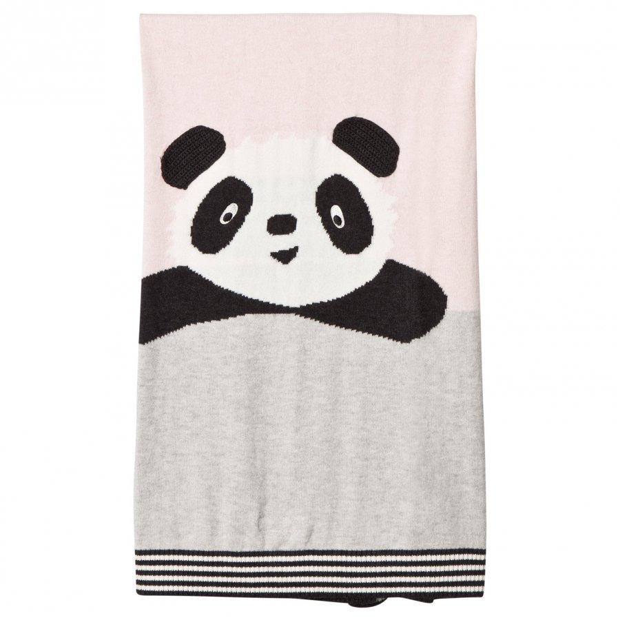 The Bonnie Mob Panda Intarsia Baby Blanket Pale Pink Huopa
