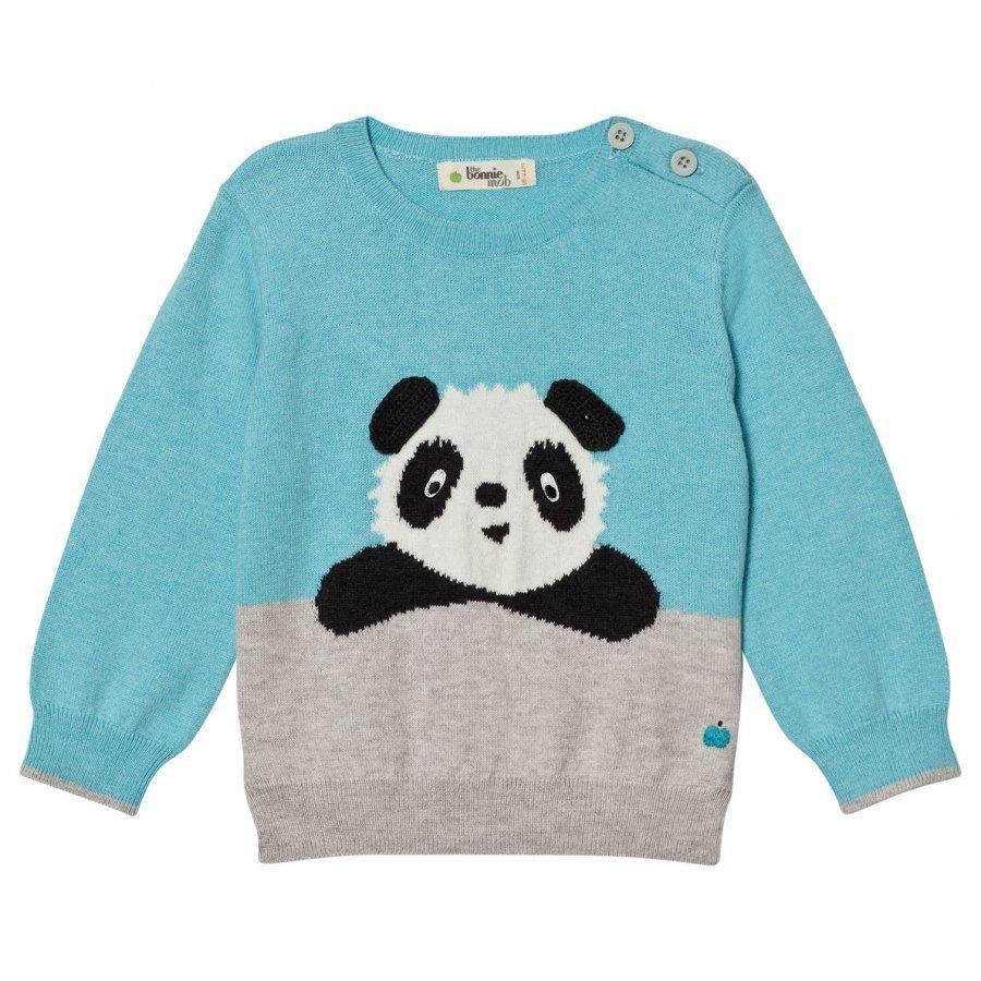 The Bonnie Mob Panda Intarsia Sweater Pale Blue Paita