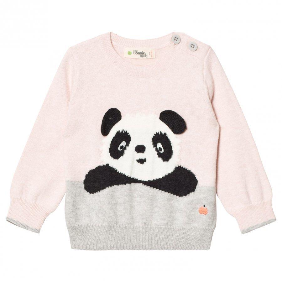 The Bonnie Mob Panda Intarsia Sweater Pale Pink Paita