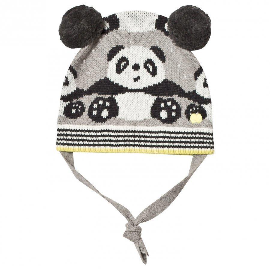 The Bonnie Mob Panda Jacquard Hat With Pom Pom Ears Grey Pipo
