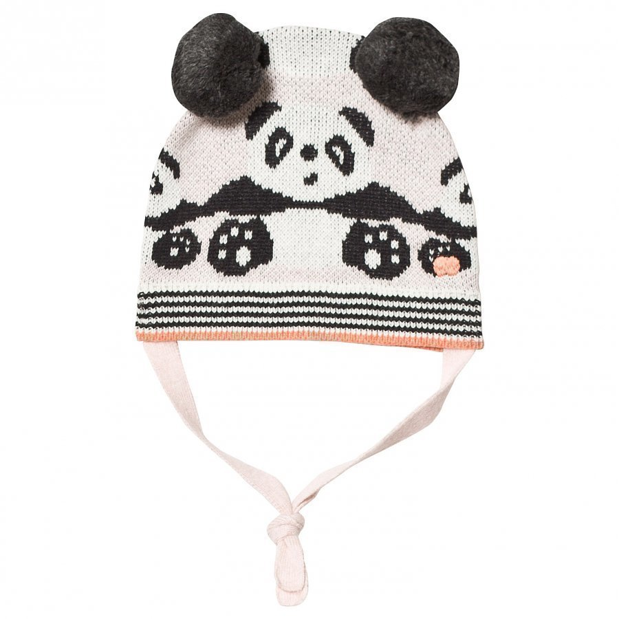The Bonnie Mob Panda Jaquard Hat With Pom Pom Ears Pale Pinks Pipo