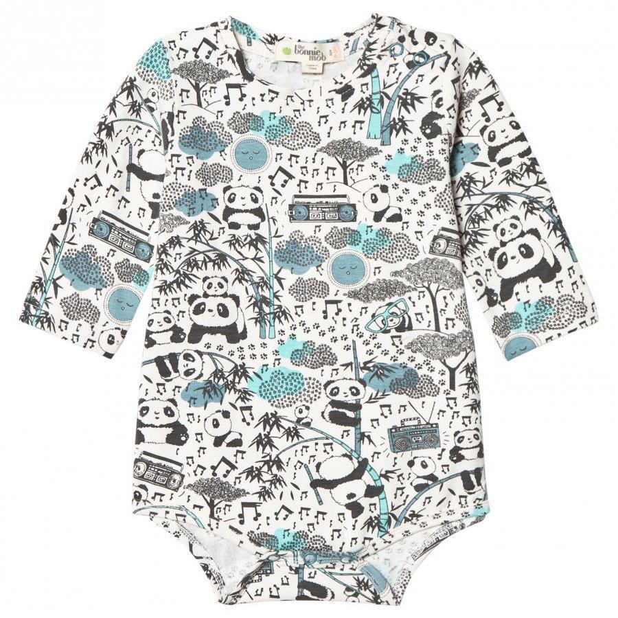The Bonnie Mob Panda Print Baby Body Blue Romper Puku