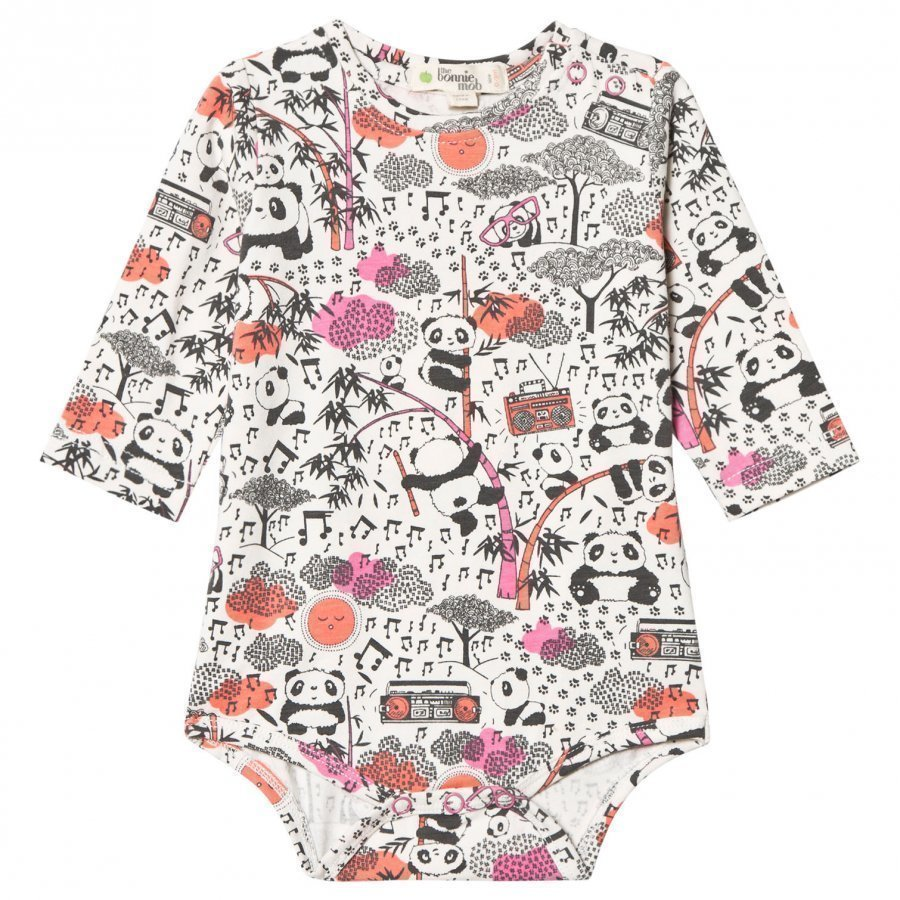 The Bonnie Mob Panda Print Baby Body Pink Romper Puku