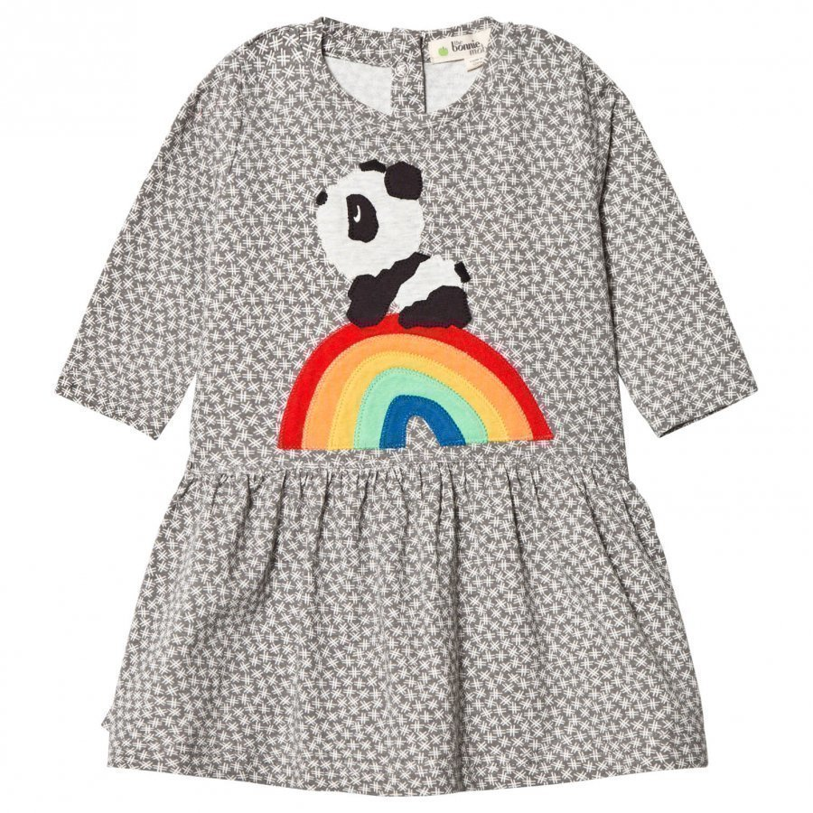 The Bonnie Mob Rainbow Panda Applique Dress Hash Tag Grey Mekko