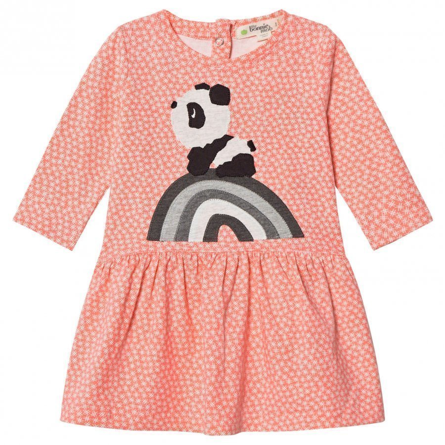 The Bonnie Mob Rainbow Panda Applique Dress Hash Tag Sorbet Mekko