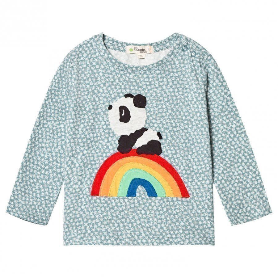 The Bonnie Mob Rainbow Panda Applique Tee Hash Tag Blue Pitkähihainen T-Paita