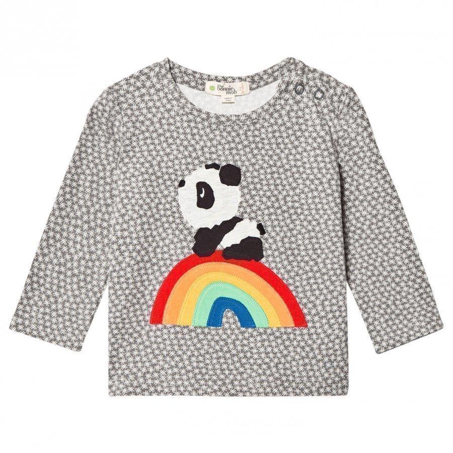 The Bonnie Mob Rainbow Panda Applique Tee Hash Tag Grey Pitkähihainen T-Paita
