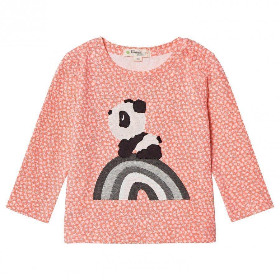 The Bonnie Mob Rainbow Panda Applique Tee Hash Tag Sorbet Pitkähihainen T-Paita