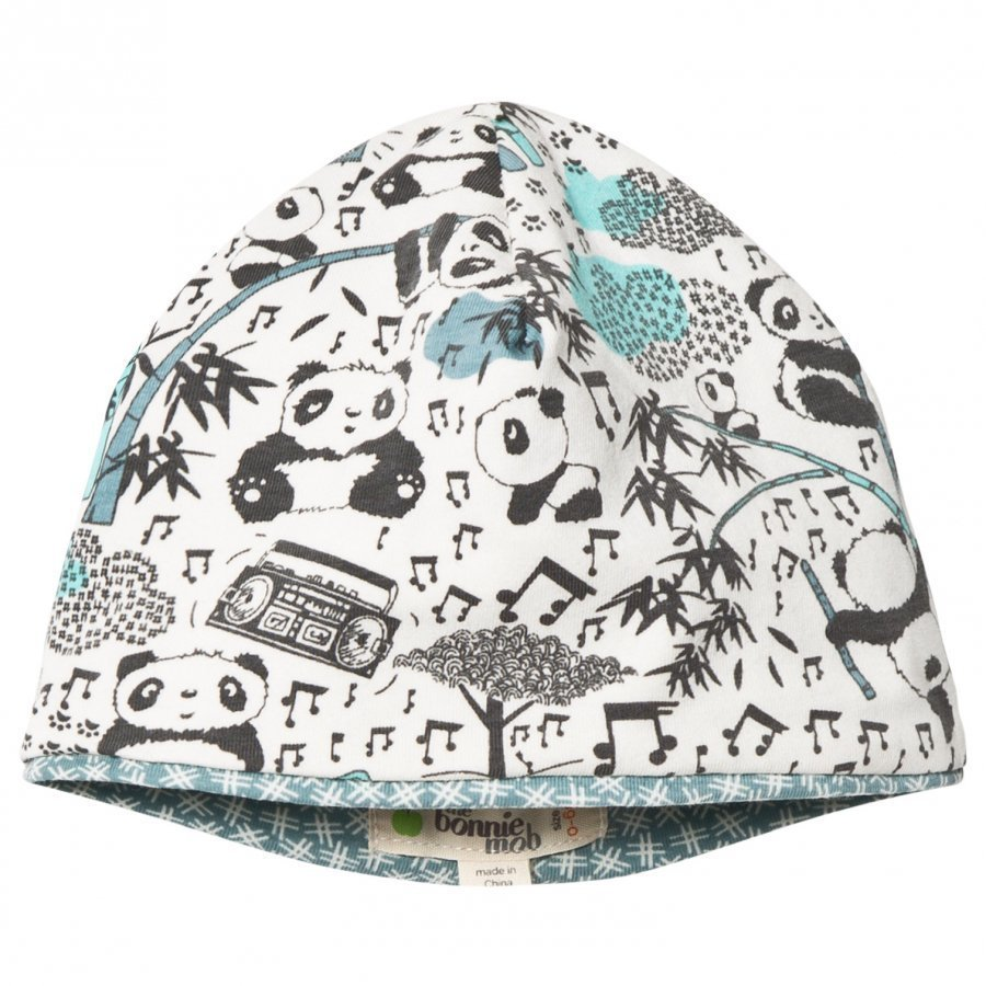 The Bonnie Mob Reversible Baby Beanie Panda Hat Blue Pipo