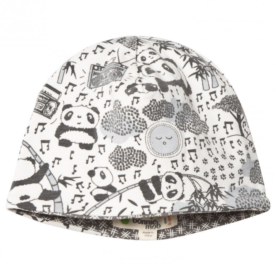 The Bonnie Mob Reversible Baby Beanie Panda Hat Grey Pipo