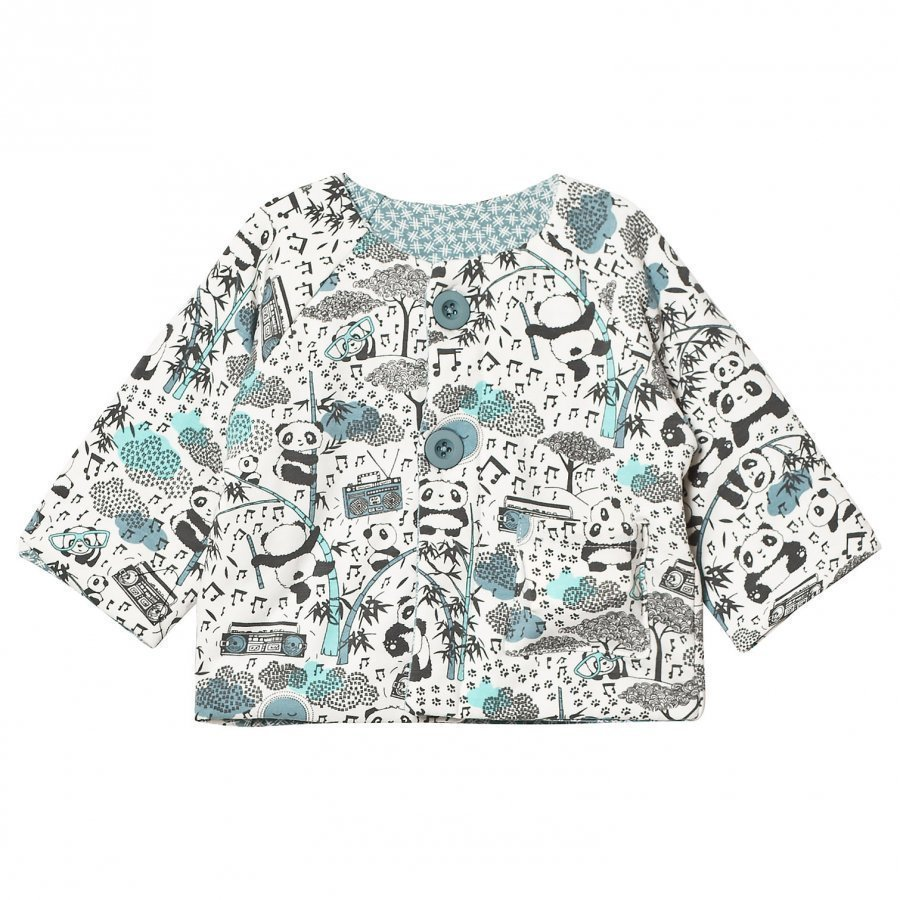 The Bonnie Mob Reversible Padded Baby Jacket Panda Print Blue Toppatakki