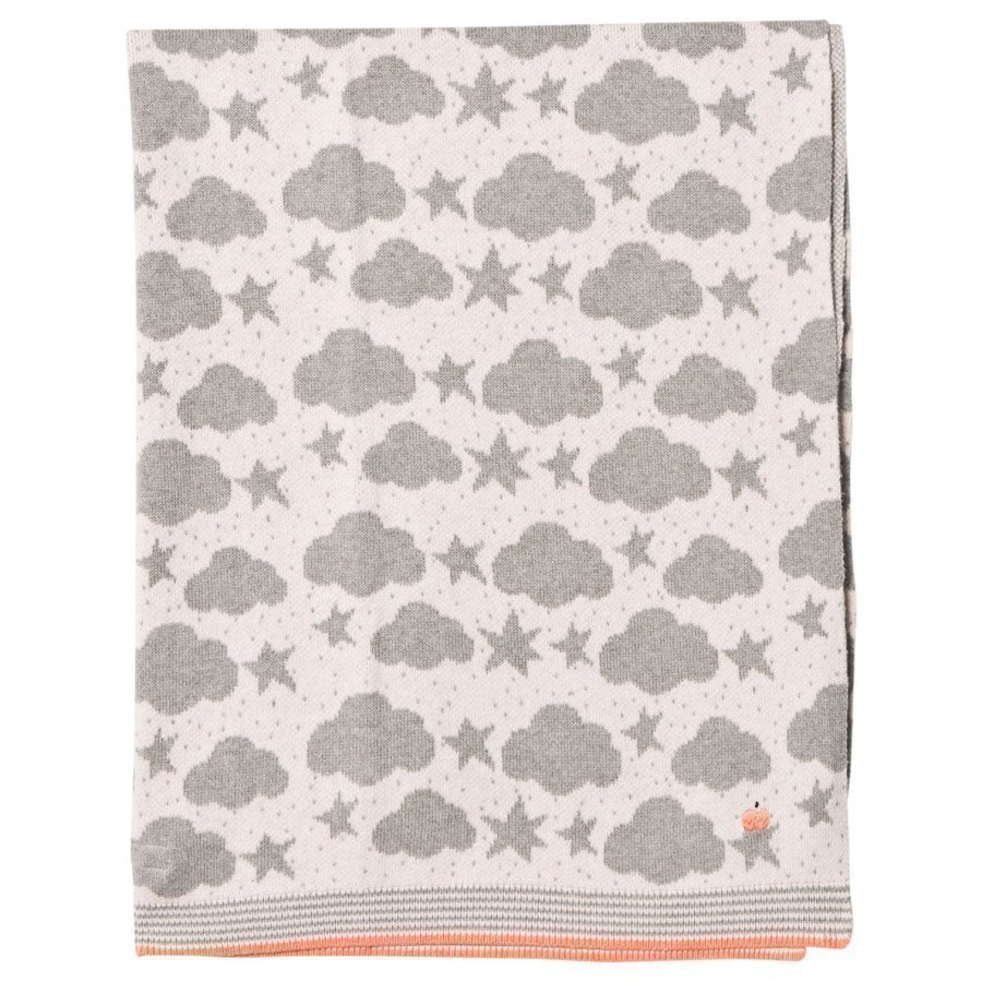 The Bonnie Mob Stars And Clouds Jacquard Baby Blanket Pale Pink Huopa