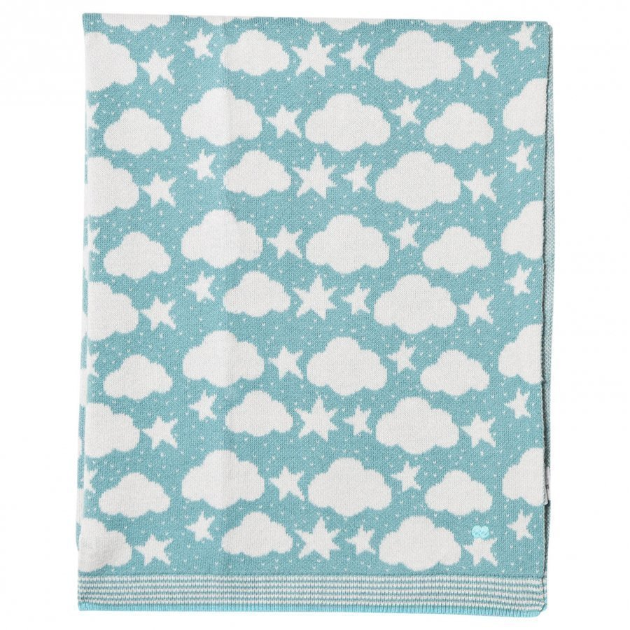 The Bonnie Mob Stars And Clouds Jacquard Baby Blanket Pale Teal Huopa