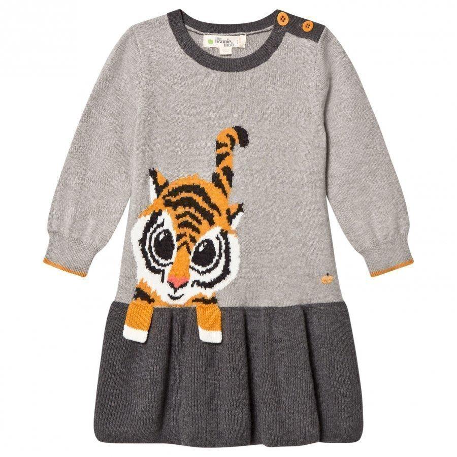 The Bonnie Mob Tiger Intarsia Dress Grey Mekko