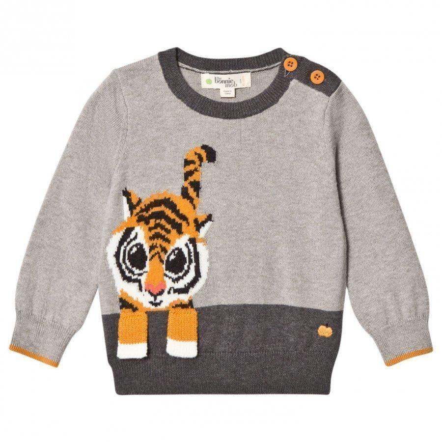 The Bonnie Mob Tiger Intarsia Sweater Grey Paita