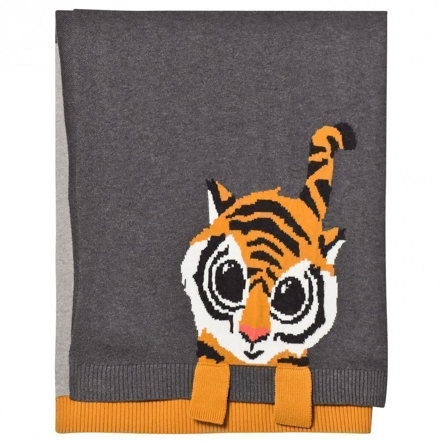 The Bonnie Mob Tiger Jacquard Baby Blanket Grey Huopa