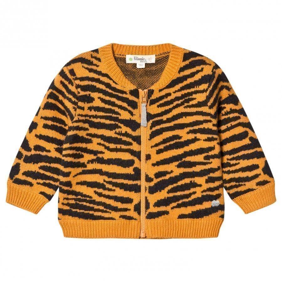 The Bonnie Mob Tiger Stripe Jacquard Cardigan Honey Neuletakki