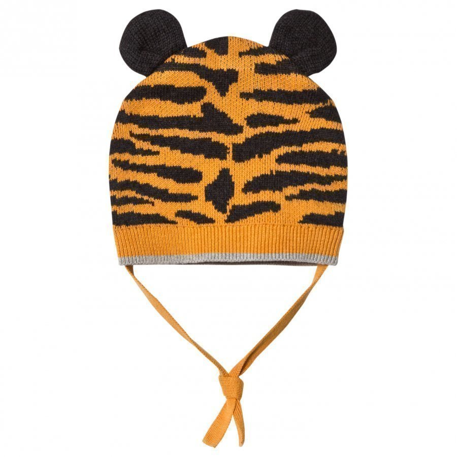 The Bonnie Mob Tiger Stripe Knitted Hat With Ears Honey Pipo