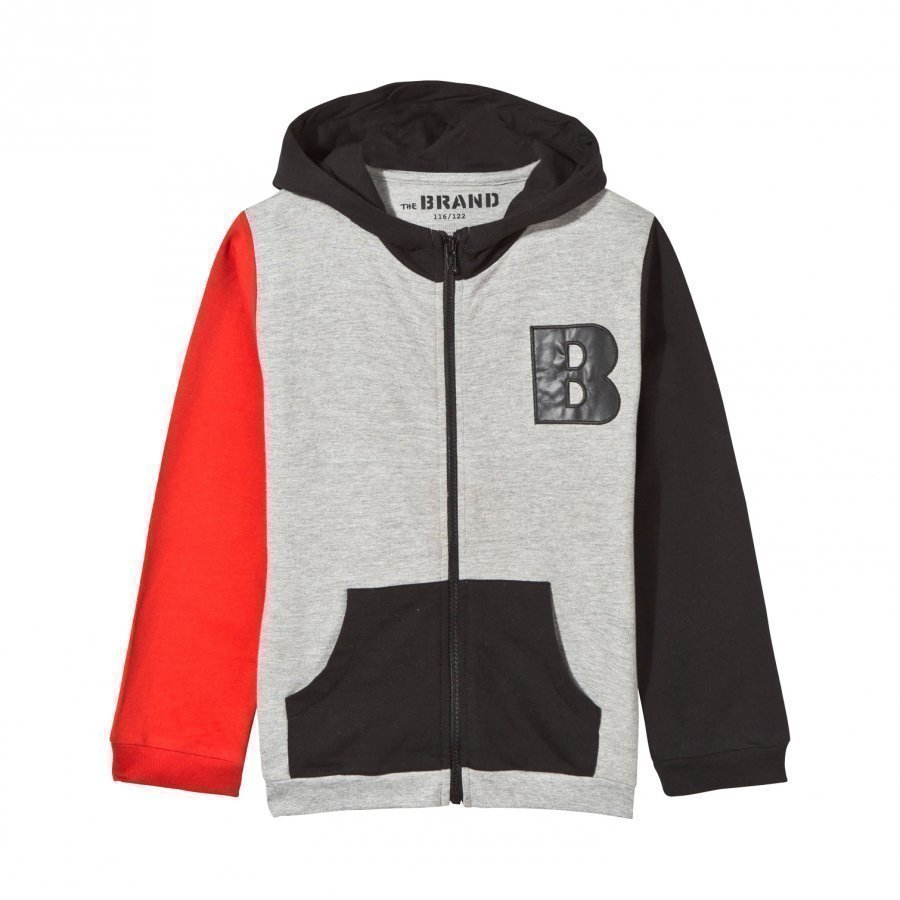 The Brand Block Hoodie Black Red Grey Melange Huppari