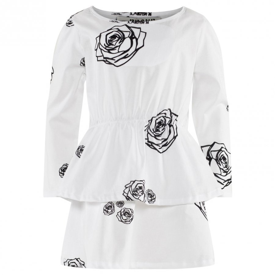 The Brand Boat Dress White Roses Mekko