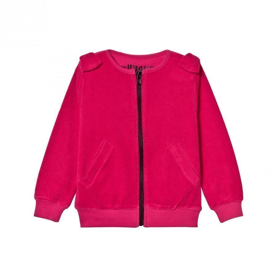 The Brand Cotton Terry Bow Zip Sweater Pink Neuletakki
