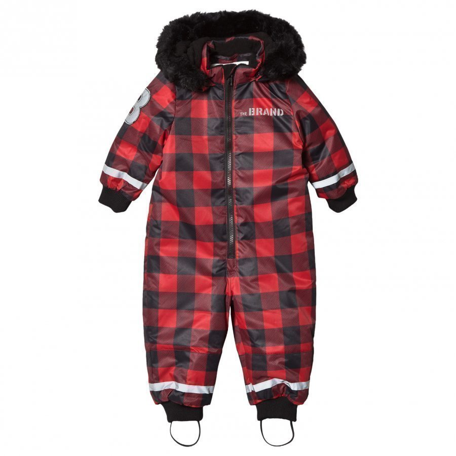 The Brand Coverall Checked Red With Black Fur Toppahaalari