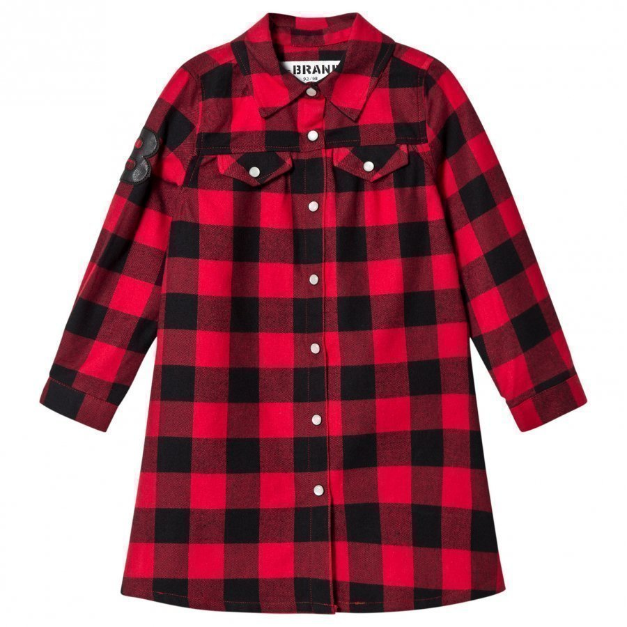 The Brand Dress Red Checked Flanell Mekko