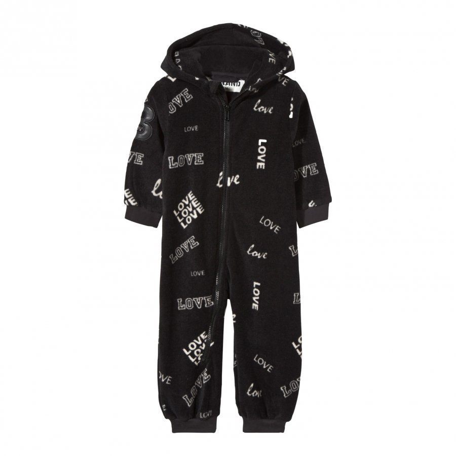 The Brand Fleece Onesie Black Love Fleece Haalarit