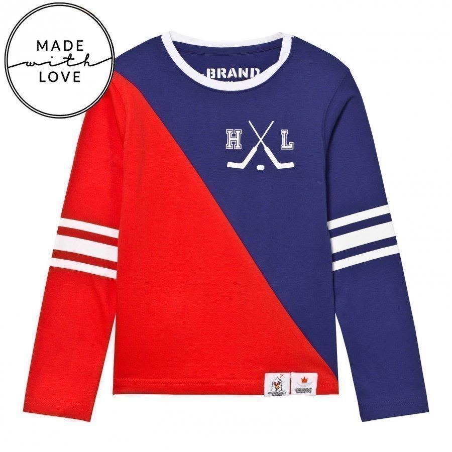 The Brand Make A Save Diagonal Tee Red/Blue Pitkähihainen T-Paita