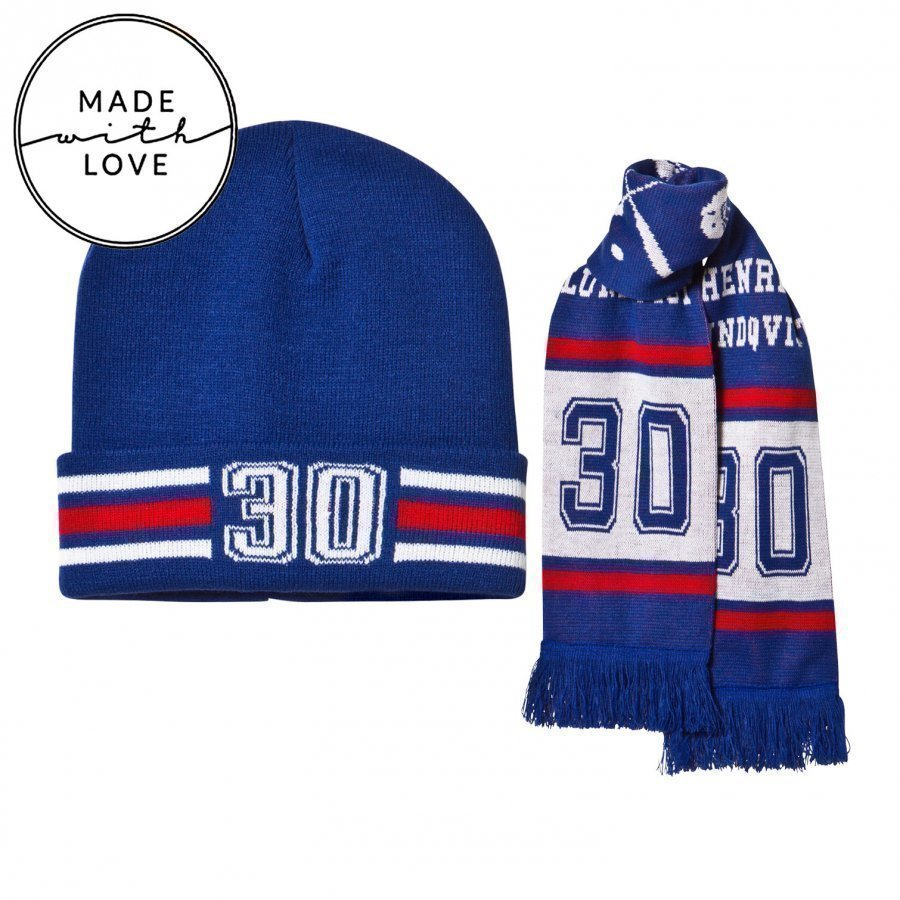 The Brand Make A Save Scarf & Beanie Set Red/Blue Pipo