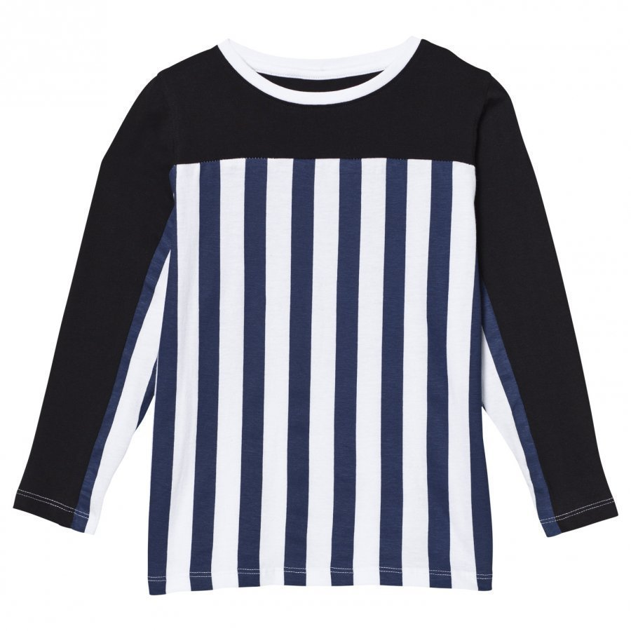 The Brand Stripe Ls Tee Blue/Stripe Black Pitkähihainen T-Paita