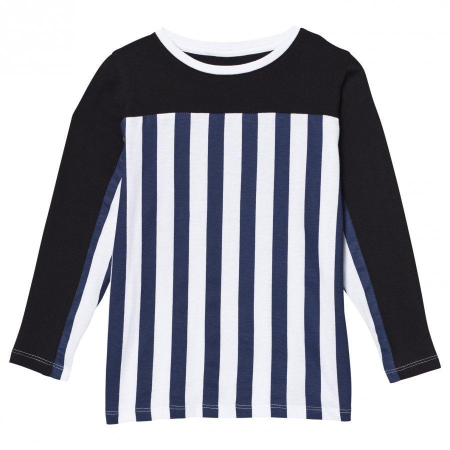 The Brand Stripe Ls Tee Blue/Stripe Black Pitkähihainen T-Paita
