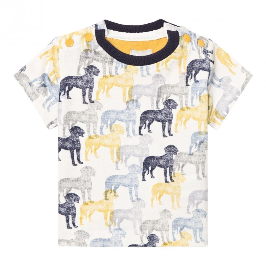 The Little Tailor Cream And Blue Multi Dog Print Tee T-Paita