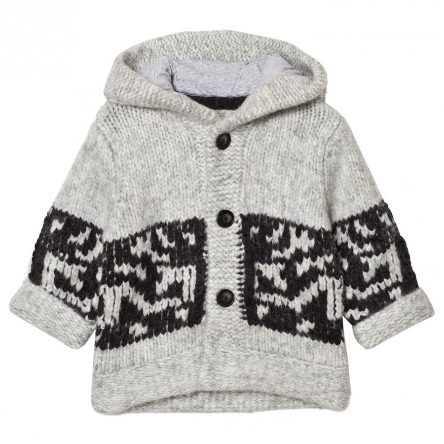 The Little Tailor Grey Chunky Knit Hoody Cardigan Neuletakki