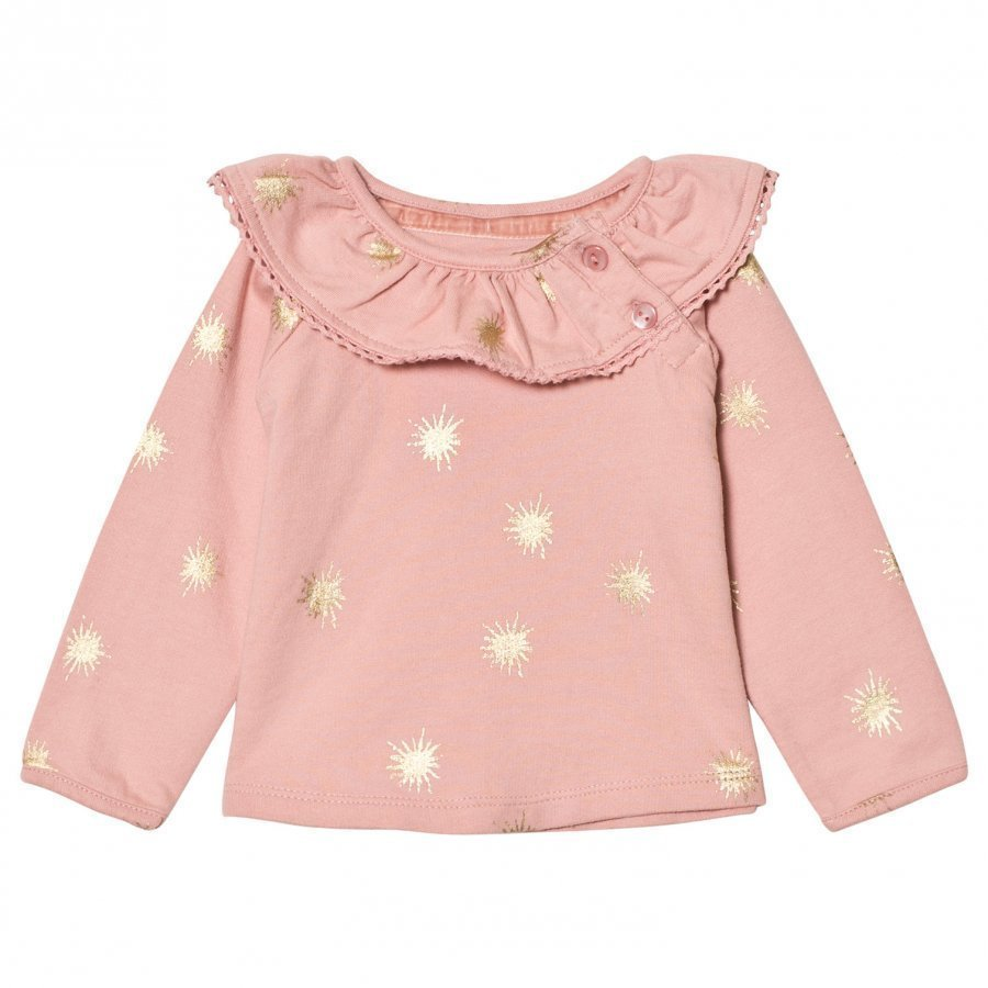 The Little Tailor Pink Baby Girls Slim Collar Sweat Pusero