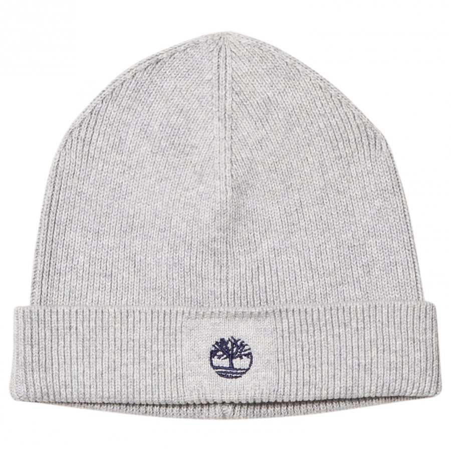 Timberland Grey Knit Branded Beanie Pipo